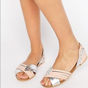 LIKE NEW ASOS juza blush silver sandals size 9